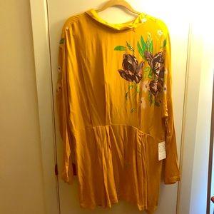 Free People Mustard yellow tunic/ mini dress